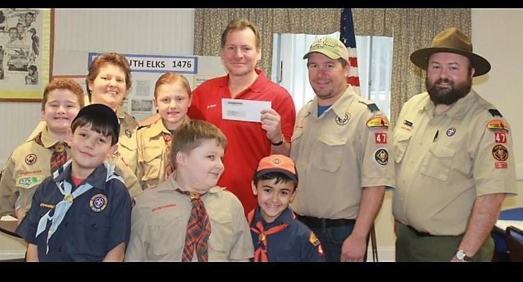 Plymouth Pack 47 Cub Scouts award from the Elks Lodge